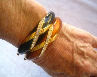 SALE Joan RIVERS Pick 1 Enamel & Rhinestone Hinged Bangle. Opaque Black OR Translucent Coppery Enamel. Rich Gold Finish.  Clear Rhinestones
