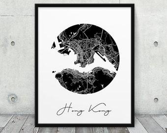Hong Kong Urban Street Map Print. Hong Kong City Map Poster. Black White Hong Kong China Print. Circle Map Decor Travel Gift. Printable Art