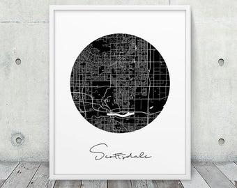 Scottsdale City Street Map Print. Scottsdale Urban Map Poster. Black White Scottsdale Arizona Map Print. Modern Travel Gift. Printable Art