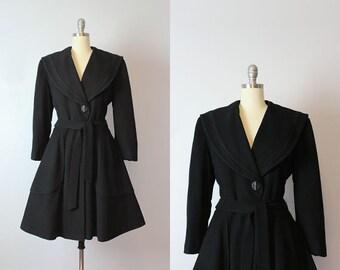 vintage 50s princess coat / 1950s black wool coat / fit and flare winter coat / sailor shawl collar coat / new look coat