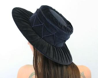 antique 1800s victorian hat / blue velvet wide brim hat / Spanish cordobes hat / flamenco gaucho hat / tassel riding hat / rare antique hat