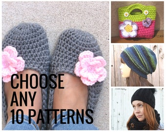 Choose ANY 10 PATTERNS, Crochet Pattern PDF,Easy, Great for Beginners
