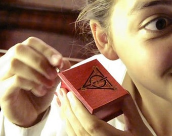 Harry Potter Deathly Hallows music box red - soundtrack and design inspired handmade wooden music box