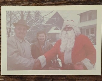 Original Vintage Color Photograph Shaking Hands with Santa