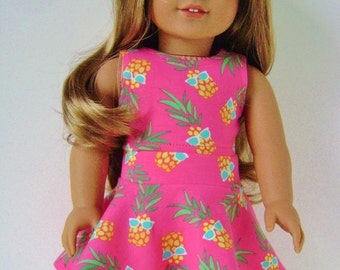 "18"" doll clothes, Pineapple with shades on pink skater skirt and crop top , 18 inch"
