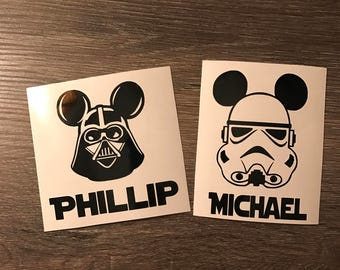 Stormtrooper or Darth Vader with Mickey Mouse Ears Personalized Star Wars Vinyl Decal, Disney, Yeti Decal, Vinyl Phone Sticker, Dark Side
