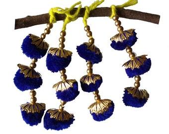 Royal Blue Camel Decoration Boho Tassel 1 Pair - Blue and Gold Bohemian Tassel / Embellishment / Decoration / Women Dress Tassels