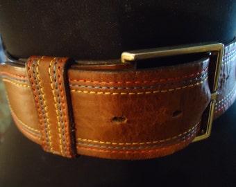 Vintage 1980s Boho Gypsy Hippie  Honey Tan Leather Belt With Red White & Blue Stitching Unisex