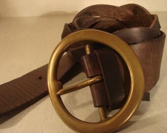 Boho 1990s Vintage Round Buckle Braided Dark Brown Chocolate Leather Belt