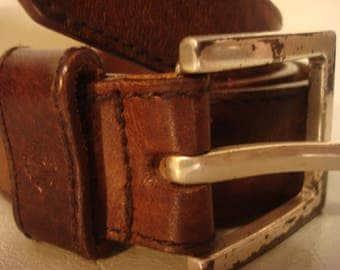 Vintage 1980s Tan Brown Leather Liz Claibourne Silver Buckled Belt