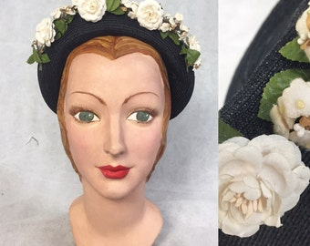 1940s capulet hat with flowers