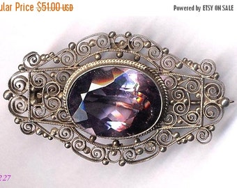 ON SALE Brooch  800 Silver Filigree with Lilac Set   Item No: 14227