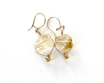 citrine earrings | gold earrings | gold wrapped citrine earrings | dangle earrings | handmade jewelry | gemstone earrings | girlthree
