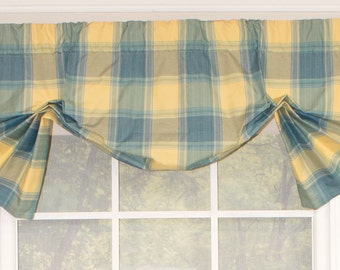 Balloon valance with tails, drapery panels