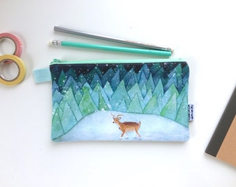 Lonely Reindeer Divided Pencil Case (handmade philosophy's illustration)