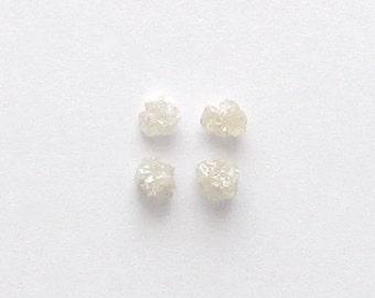 Natural Rough White Diamond, Uncut, Lot (4) of 0.98 carat