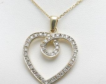 Vintage 14k yellow gold DIAMOND Heart Pendant 3/4 carat pave swirl LOVE