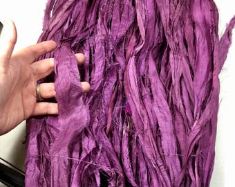 10 yd Recycled Sari Silk Ribbon Rustic Purple Tassel Free Combined Shipping Jewelry Fair Trade Felt Crochet Scrapbook Weave Fiber Art Supply