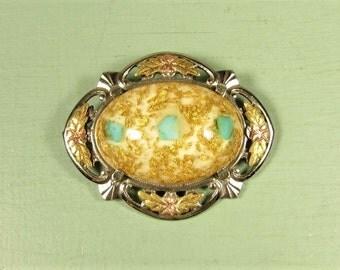 Black Hills Gold Brooch - Vintage LSP Sterling Silver Confetti Lucite Aqua Fleck Cabochon Pendant