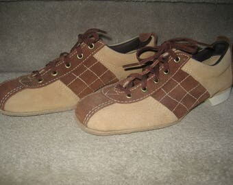 DEXTER Suede Bowling Shoes - Brown/Tan Saddle Shoes - Leather Lace Ups - Ladies Size 6 1/2 - American Made in USA