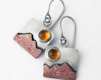 Mixed metal jewelry mokume mountain earrings, silver and citrine sun