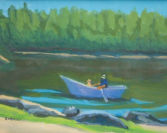 Fishing Buddies North Twin Lake Central Oregon Original Painting