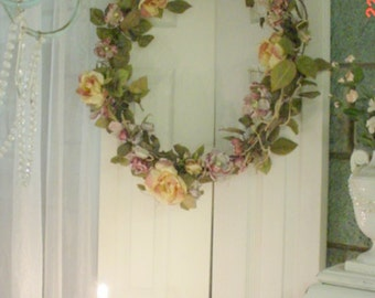 Wreath Paper Roses Romantic French Country Shabby Cottage Chic