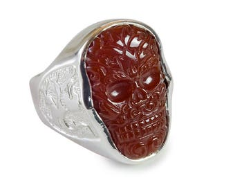Skull Ring Red Agate Aztec Style Hand Carved Genuine Gemstone In Sterling Silver 925
