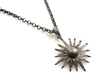 Pave Diamond Oxidized Sterling Silver Sun Star Gunmetal Necklace/ Long Necklace/BohoChic Necklace