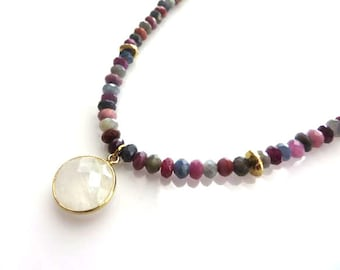 Faceted Sapphire , Karen Hill Tribe Organic Form Discs And Gold Bezel Faceted Moonstone Boho Choker Necklace