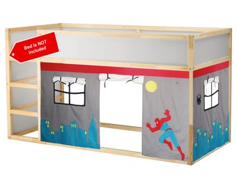 Spiderman Bed Playhouse / Bed tent / Loft bed curtain - free design and colors customization
