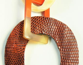 Pendant HANDMADE Organic Buffalo Horn Lacquer Leather