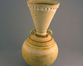 Retro Vase - Rustic White Vase - Earthy Flower Vessel - Geometric Urn - Earthy Jardiniere - Mid Century Home Decor - Studio Pottery