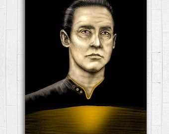 SALE** Data Star Trek Painting - 11 x 17 Fine Art Print