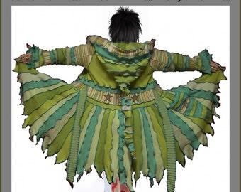 Elf coat, sweater coat, green cardigan, hoodie, hippie coat, dream coat, patchwork coat, size XL, size XXL