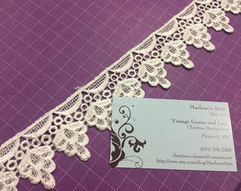 Ivory venise lace, 1 yard of 1 3/4 inch Ivory Venise lace trim for bridal, wedding, jewelry, houseware, couture by MarlenesAttic - Item BB33