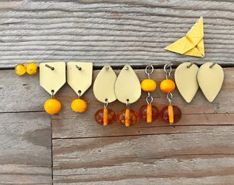 combinable earrings set - golden and yellow