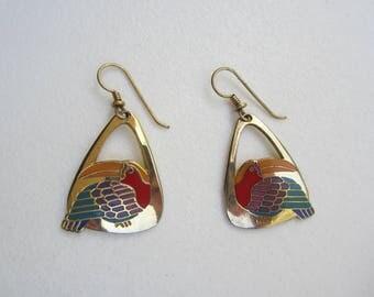 """Vintage  Laurel Burch Drop Enamel Earrings - """"Toucan"""" Dangle Earrings - Pierced Earrings - Silver Tone Red Teal Purple Mustard - Collectible"""