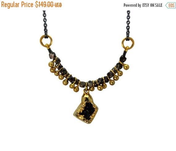 20% off. One of a Kind Druzy Necklace. Unique Gold Dipped Druzy. Fringe Necklace. Black and Gold Necklace.   NM-2216