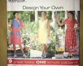 VINTAGE UNCUT Simplicity Pattern #7642 Design Your Own Dress - Size XS S M - New from 1997