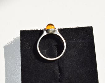 VTG Norway Mestergull Sterling Silver 925 and Amber Ring  Size US 6 3/4  with Original Box and Authors SIgned Label 1989
