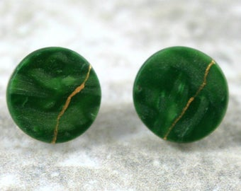 CLEARANCE SALE - Kintsugi (kintsukuroi) style round stud earrings in swirled green polymer clay with gold repair - OOAK
