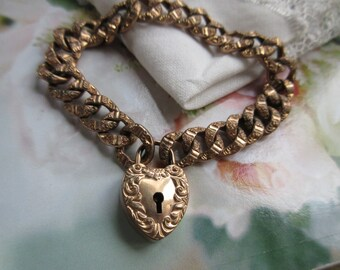 Antique Victorian Curbed Link Heart Padlock Charm Bracelet - Victorian Gold Fill - Puffy Heart Charms - Romantic Gifts - Wedding Bracelet