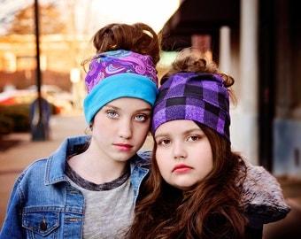 Bun hat - Pony Tail Hat - Messy bun beanie - Messy hair hat - Active Head Wear - Running Gear - Winter Hat - Plaid - Trendy