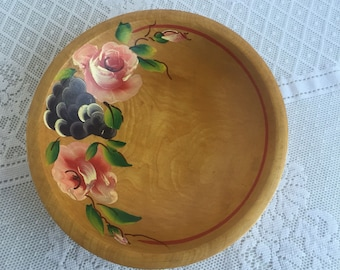 Vintage Toleware Hand Painted Serving Dish / Wooden Fruit Bowl with Painted Roses and Grapes