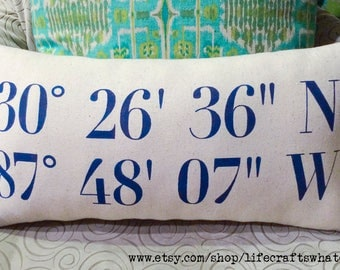 Colored text coordinates decorative pillow 12x22 with insert
