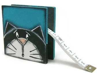Sewing centimeter with black cat - Blue Sewing centimeter with centimetre and inches