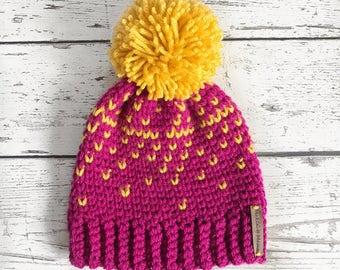 Children's Fair Isle Pom Hat, 1-3 years Crochet Pom Hat, Crochet Beanie, Girls Winter Hat, Ready to ship
