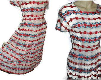 Vintage 1950s Dress Cotton Blend Day Dress Red White Blue Geometric Print Patriotic Rockabilly Dancing Summer Dress Cute! S chest to 36 in