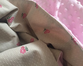 Girls Floral and Pink Minky Baby/Crib Blanket